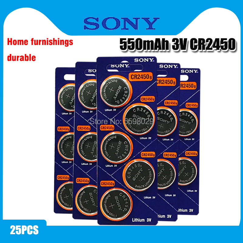 25pcs Original Sony CR2450 Button <font><b>Battery</b></font> 5029LC BR2450 BR2450-1W <font><b>CR2450N</b></font> ECR2450 DL2450 KCR2450 LM2450 For Watch Toy Remote image
