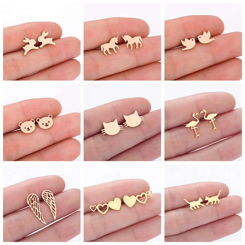 Tiny Animal Women's Earrings Gold Fashion Rabbit Bird Horse Bear Cat Wings Fashion Cheap Baby Kids Earring Jewelry Dropship