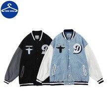 Street Hip-hop Tide Brand Jacket Retro Jacket Baseball Uniform High Street Letter Towel Embroidered Denim Jacket Couple Jacket