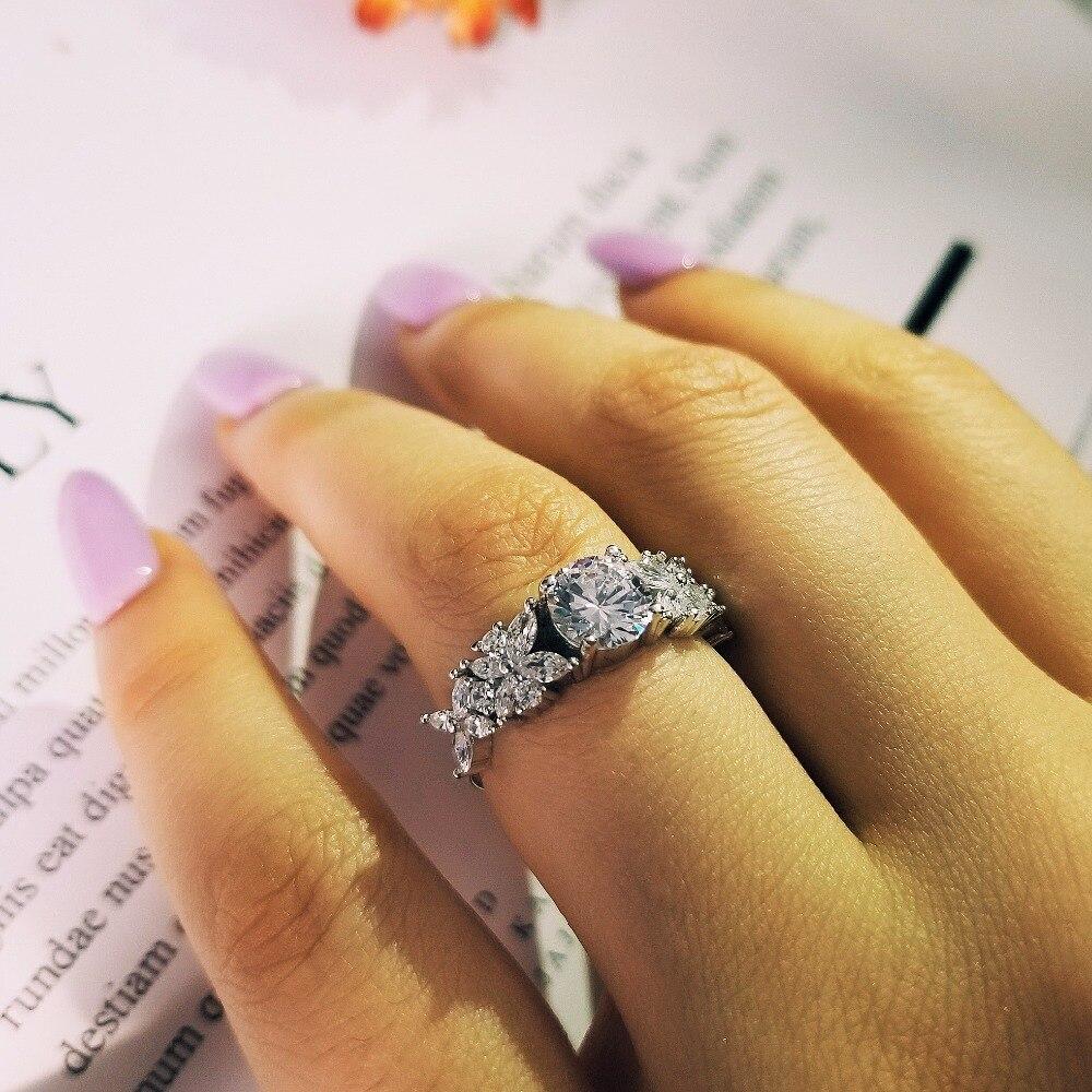 Moonso 2020 nejnovější instagram design 925 mincovní stříbro módní zásnubní prsten pro dámské prstové šperky R4321S