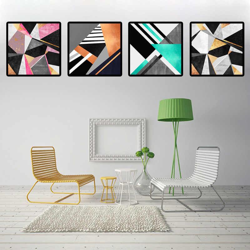 Fotos de Estilo nórdico Colorido Geometria Abstrata Poster A4 Impressões Da Arte Da Lona Pintura Moderna Para Sala de estar Decoração Da Parede de Moda