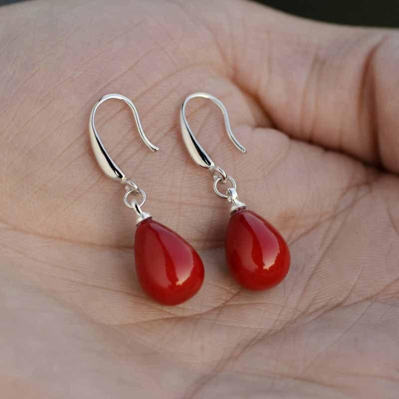 New red pearl pendant earrings imitation pearl long earrings transparent crystal opal earrings, is a romantic gift for women 5