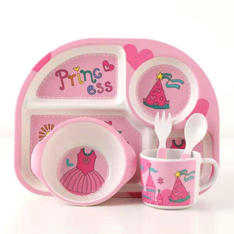 5 pcs set prato talheres treinamento criancas bonito dos desenhos animados do bebe alimentacao pratos de