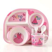 5pcs/set Baby Dish Training Tableware Children Cute Cartoon