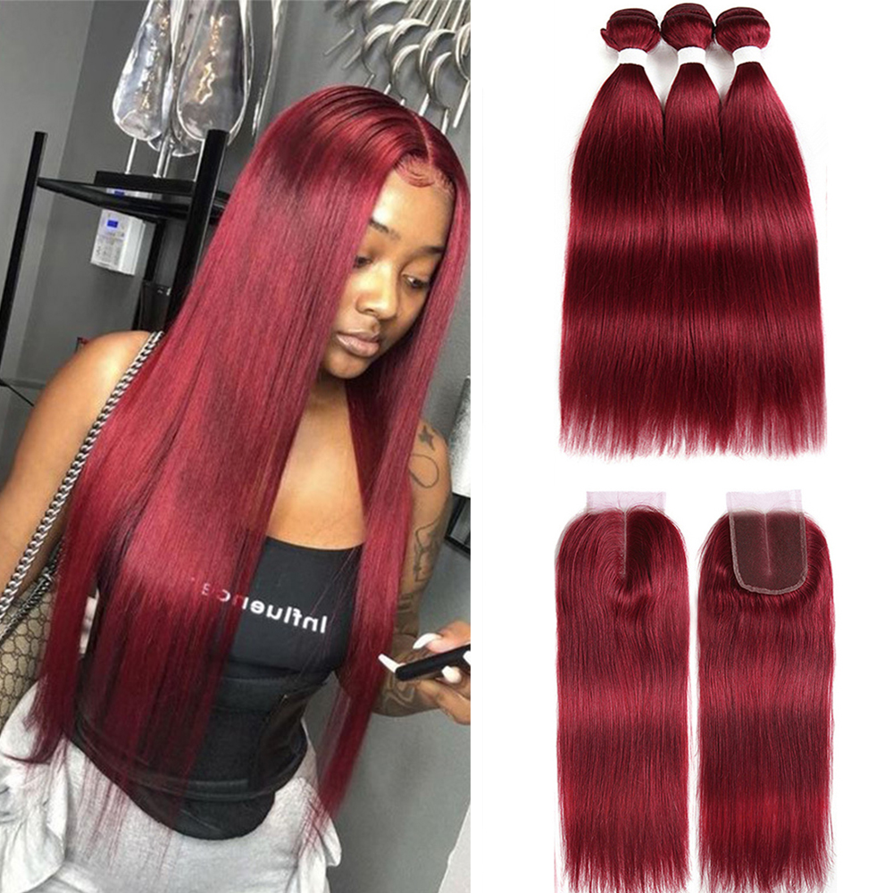 Burgundy Straight Bundles With Closure 99J Red Human Hair Bundles Brazilian 9A Remy 3 Bundles With Lace Closure Frontal EUPHORIA