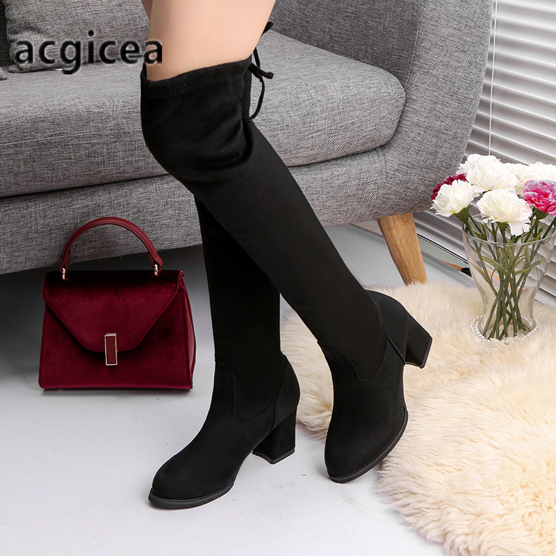 oymlg2020 Fashion Women Boots Spring Winter Over The Knee Heels Quality Suede Long Comfort Square Botines Mujer Thigh High Boots