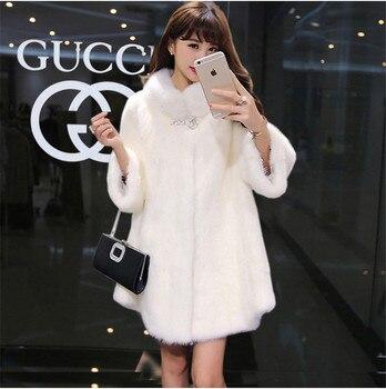 Winter New Faux Fur Coat Long Imitation Rabbit Faux Fur Jacket Coats Female Suede Jacket Casacas Para Mujer Vetement Femme 2019