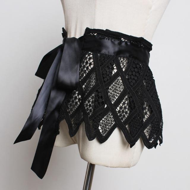 Hot Sale New Fashion Trendy Fashion Corset Belts For Women Solid Lace Panel Drawstring Wide Belt Sweat Mini Skirt Female ZK297 1