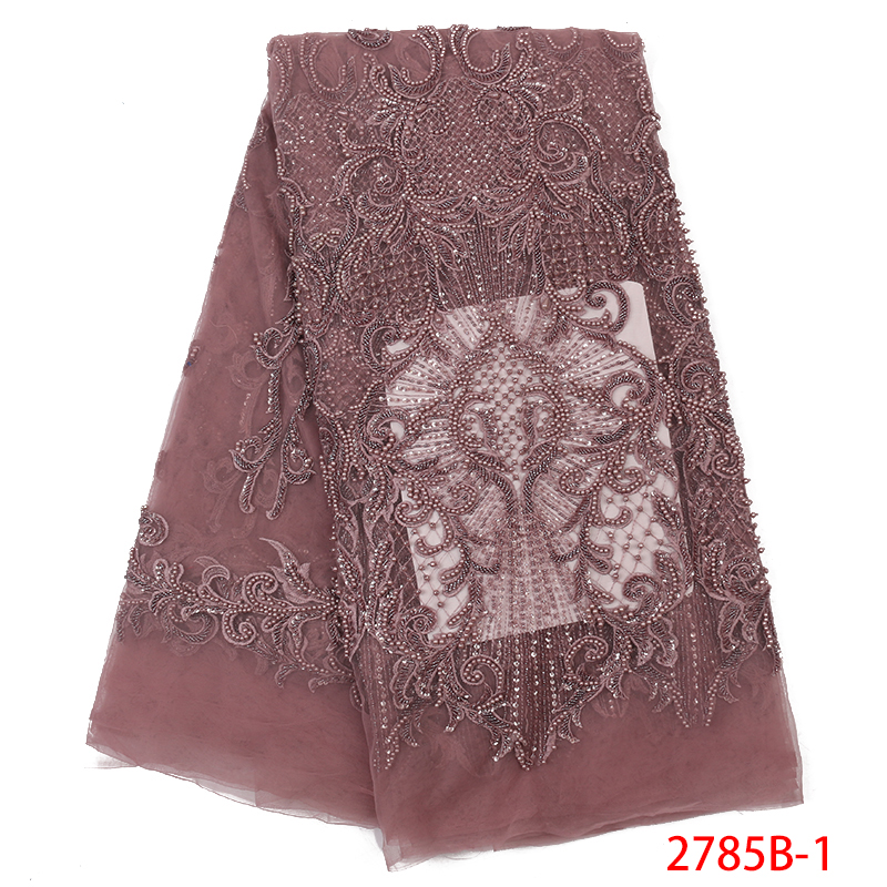 French Nigerian Lace Fabrics Hot Sale Beaded Fabric Lace African Tulle Net Laces With Sequins For Women Dresses KS2785B-1