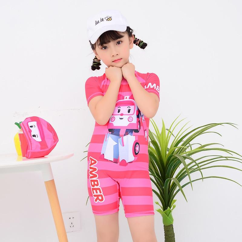 New Style KID'S Swimwear Girls One-piece Swimming Trunks Big Boy Baby Cartoon Cute Beach Quick-Dry Swimwear Fashion