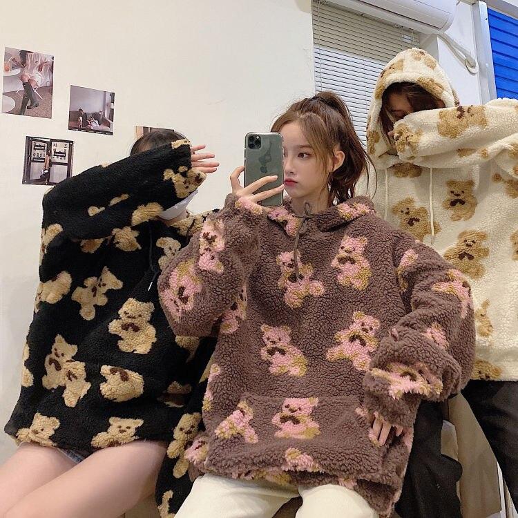 2021 urso padrão de lã de cordeiro senhoras hoodie coreano roupas esportivas all-match solto novas camisas esportivas das mulheres topos de grandes dimensões pullovers