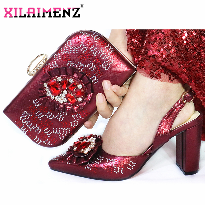 Image 5 - Mature Special Design Onion Color Shoes And Bag To Match Set  Nigerian High Heels Party Shoes And Bag Set For Wedding DressWomens  Pumps