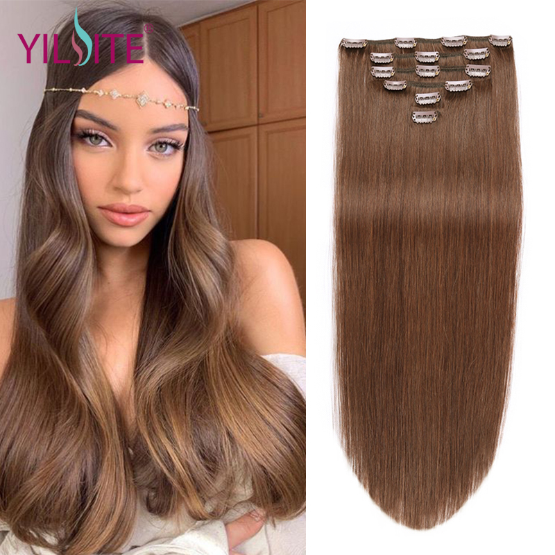 YILITE Non-Remy Straight Clip In Human Hair Extensions 14''-20inch 100% Human Hair 6pcs Clips In Hair Extensions