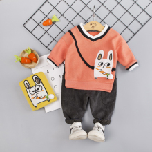 Baby Boy Clothes 0-4T Autumn New Cartoon Rabbit Print Toddler Boys Sets Fashion Casual Top Pants 2 Pieces Children's Sets #m