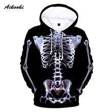 Novo 3d x-ray perspectiva hoodies homem/mulher gráfico esqueleto crânio 3d impressão com capuz dia das bruxas menino menina pop criativo topos