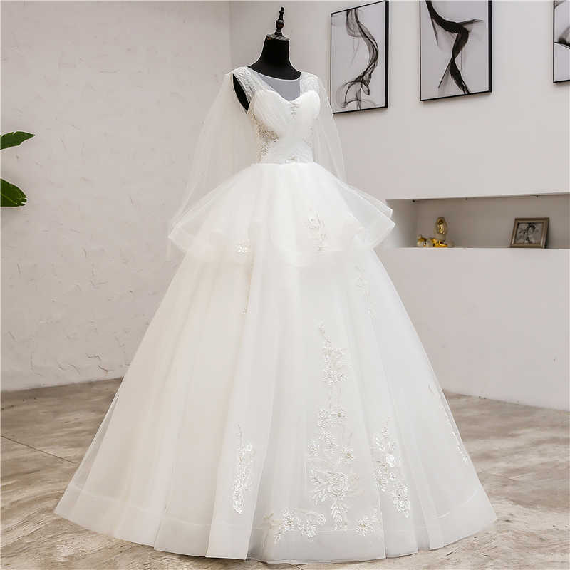 2019 חדש קוריאני תחרה O-צוואר זולה מוסלמית שמלות סתיו כלה שמלת חתונת כותנות robe de mariage עם צעיף 08