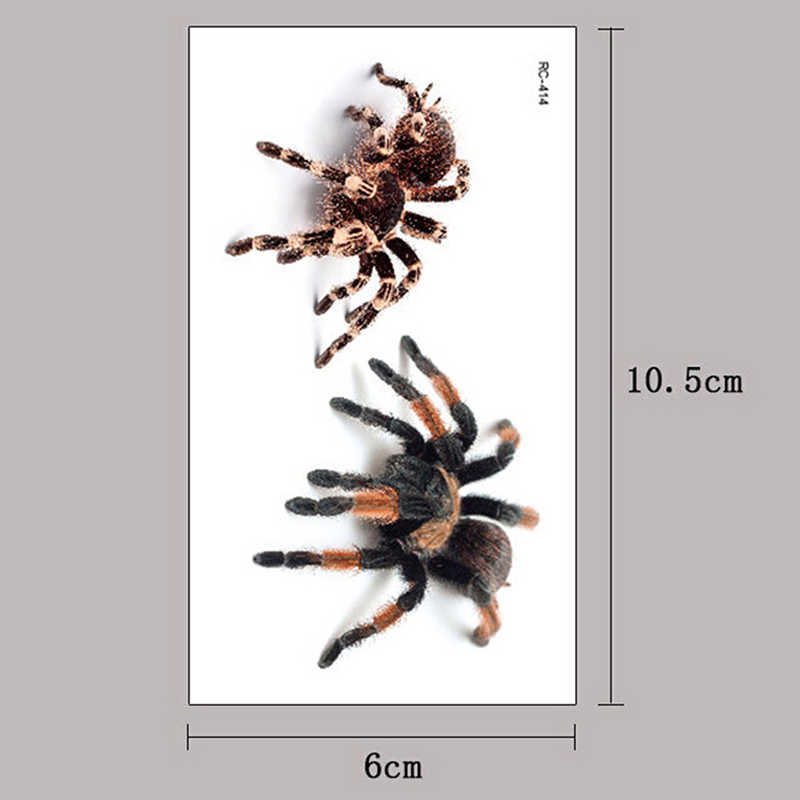1pcs עמיד למים זמני קעקוע מדבקת 3D עכביש ליל כל הקדושים העברת קעקוע פלאש קעקוע מזויף קעקוע עבור גברים נשים