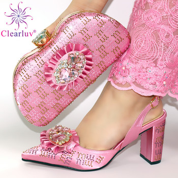 Pink Color High Quality Italian Women Shoes and Bag Set for Wedding Party Crystal Shoes and Bag to Match