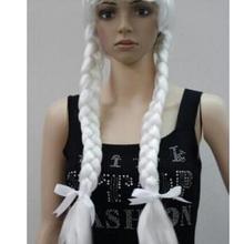 Парик серебристо-белый нарядное платье Косплей Длинные Двойные косы парик
