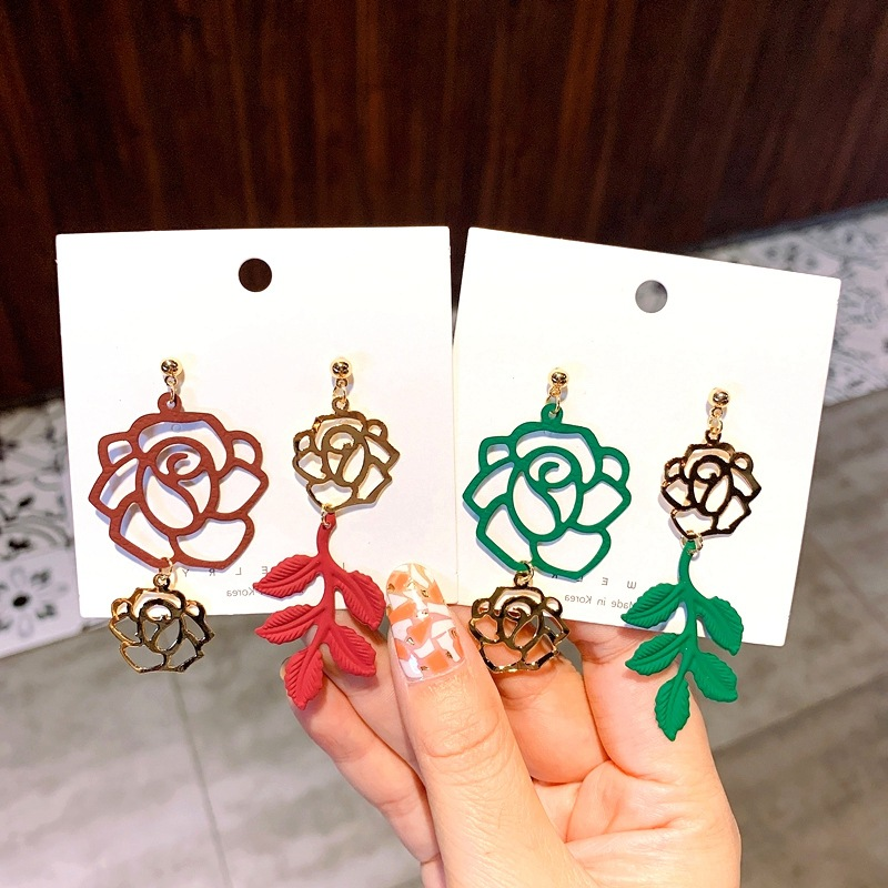 new fashion  drop earrings for women exaggerated metal dangle earring hollow leaves wedding party jewelry