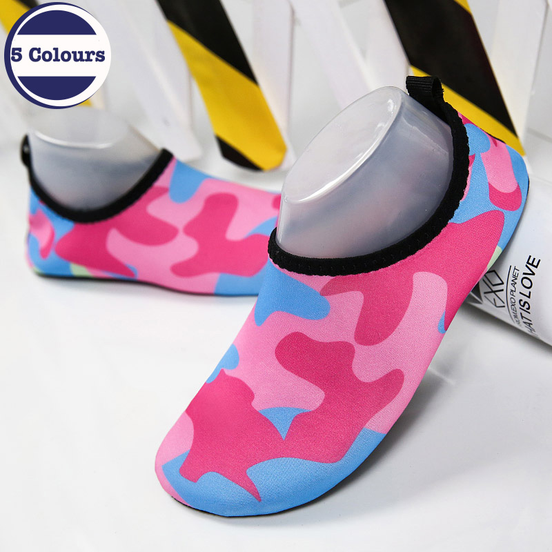 Summer Unisex Quick drying Colorful Shoes Anti slip Snorkeling Seaside Beach Shoes Swimming Fins Diving Socks Rubber Shoes in Men 39 s Sandals from Shoes