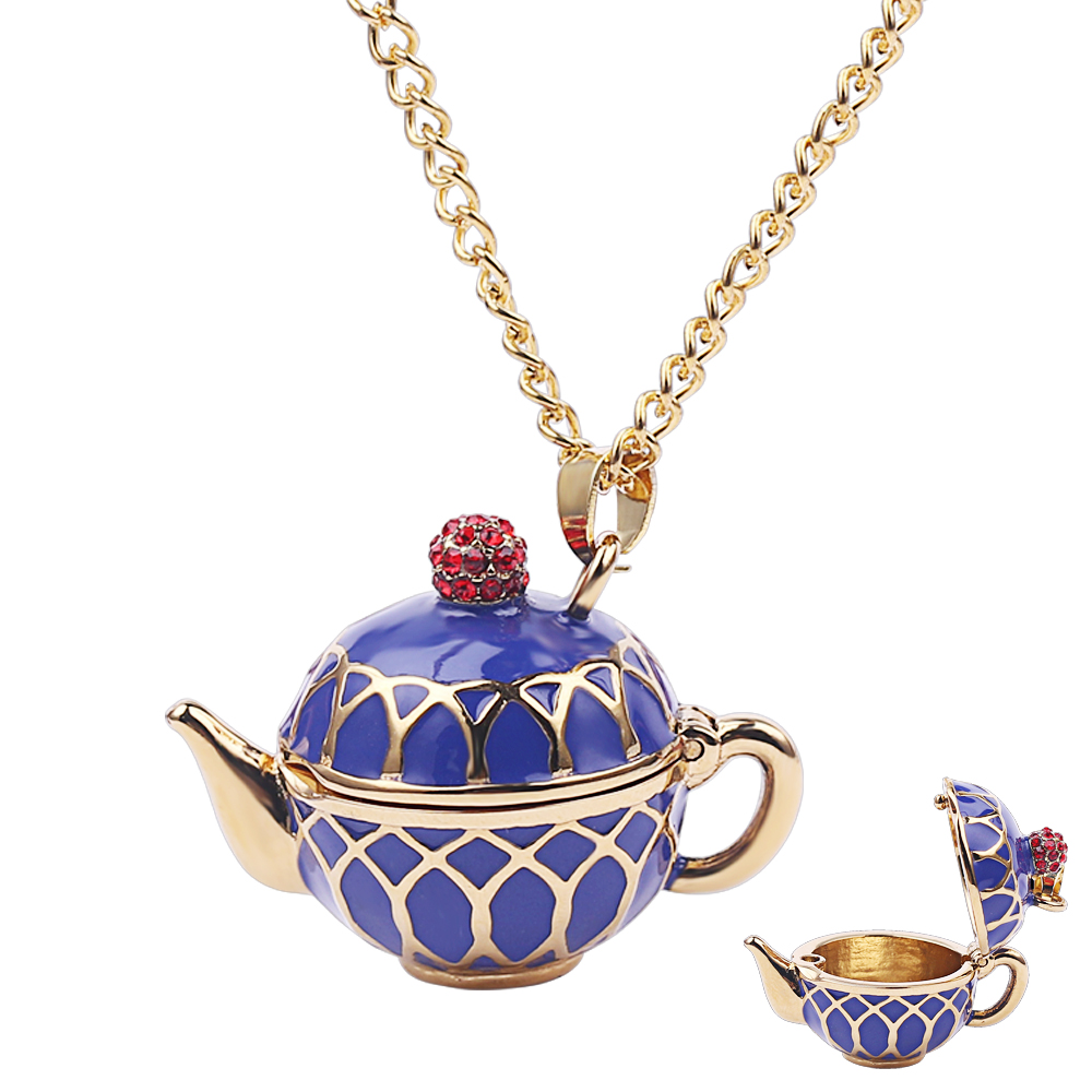 Necklace Stud-Earrings Jewelry Charm Elegant-Style Fine-Blue Ladies Can Cute Tea