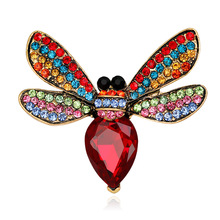 Fashion animal brooch personality bee alloy full of glass broccoli spot wholesale factory direct sale