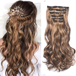 22Inch 16 Clips Long Synthetic Hair Clip In Hair Extension Heat Resistant Hairpiece Natural Wavy Hair Piece 6Pcs/Set