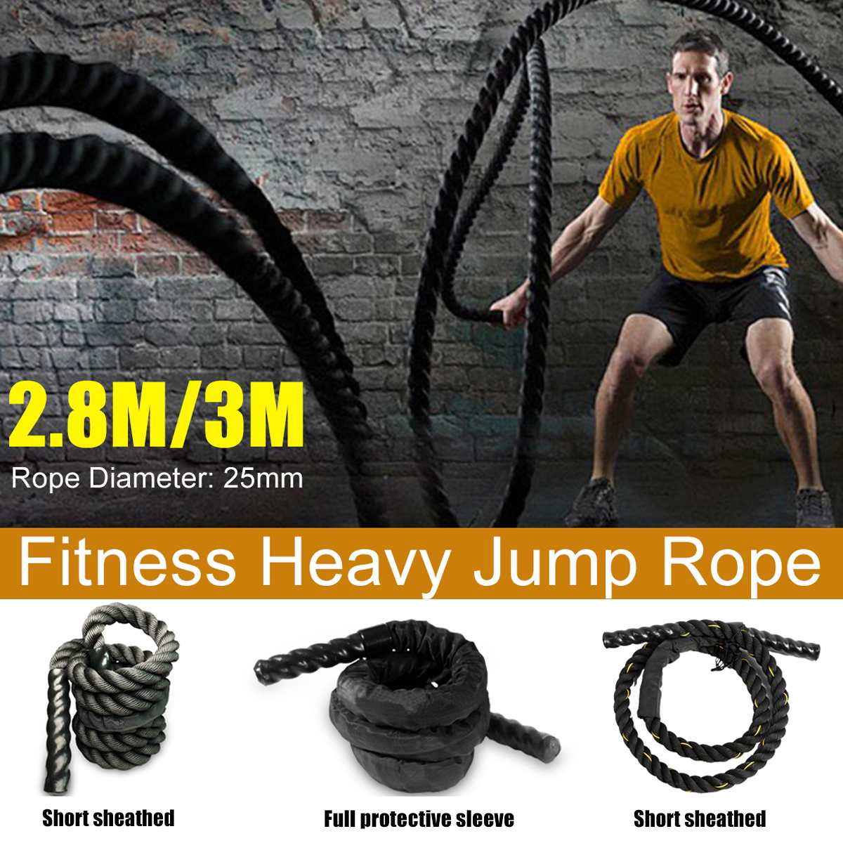 Heavy Jump Rope Skipping Rope Workout Battle Ropes for Men Women Total Body