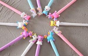 Светодиодный светильник, гелевая ручка, блестящая мечта, яркие цвета, пони, единорог, медведь, милая ручка, кавайные подарки, канцелярские ручки, офисные школьные принадлежности