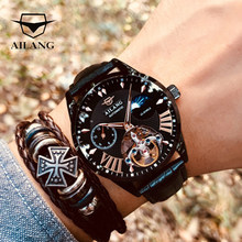 AILANG Quality Tourbillon Men's Watch Men Sun/ Moon Phase Automatic Swiss Diesel Watches Mechanical Transparent Steampunk Clock(China)