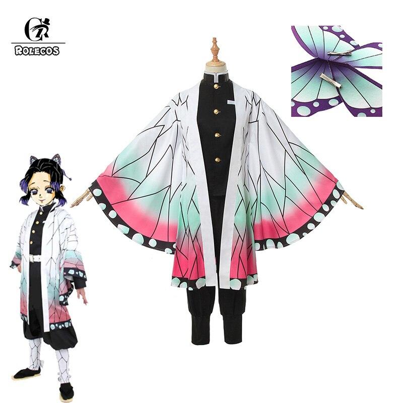 ROLECOS Anime démon tueur Cosplay Costumes Kochou Shinobu Cosplay Costume Halloween femmes Kimetsu No Yaiba uniforme cape