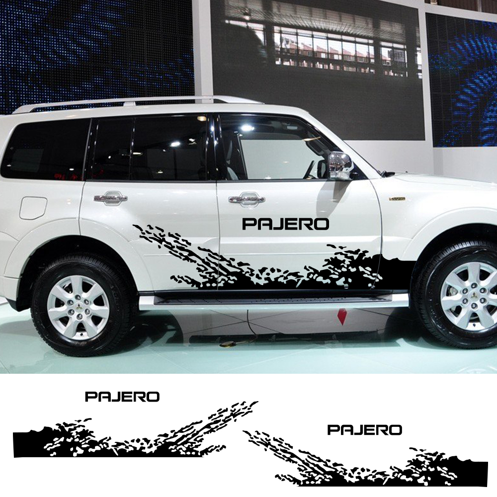 2pcs For Mitsubishi Pajero Car Door Side Stickers Auto Vinyl Free Shipping Decals DIY Decoration Styling Car Tuning Accessories