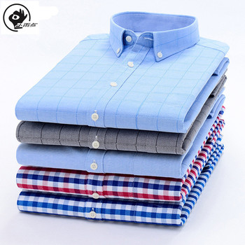Little Raindrop Men Shirt Long Sleeve Oxford Dress Shirt With Chest Pocket Male Casual Striped Button Down Shirts Mens Clothing openwork lace splicing striped t shirt with pocket