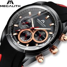 レロジオ Masculino MEGALITH 新スポーツクロノグラフメンズ腕時計トップブランドの高級クォーツ時計男防水シリコーンストラップ腕時計男性