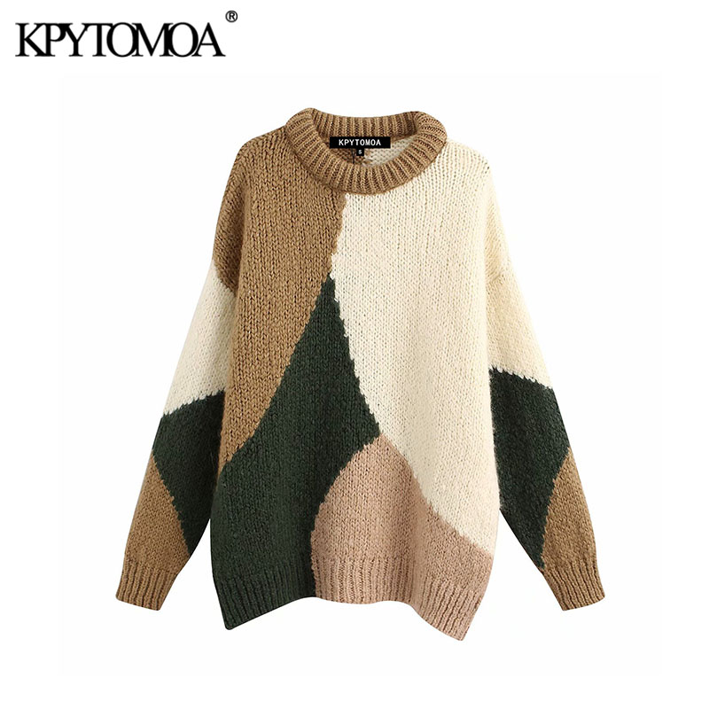 Vintage Sweet Color Patchwork Loose Knitted Sweater Women 2020 Fashion O Neck Long Sleeve Female Pullovers Chic Tops