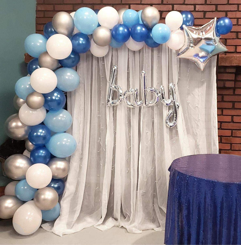 Guirlande de ballon Arc Kit Bleu et Blanc Argent 16Ft Longue 100 pièces Ballons Pour Garçon Bébé Douche Anniversaire Mariage Fête De Douche de Bébé