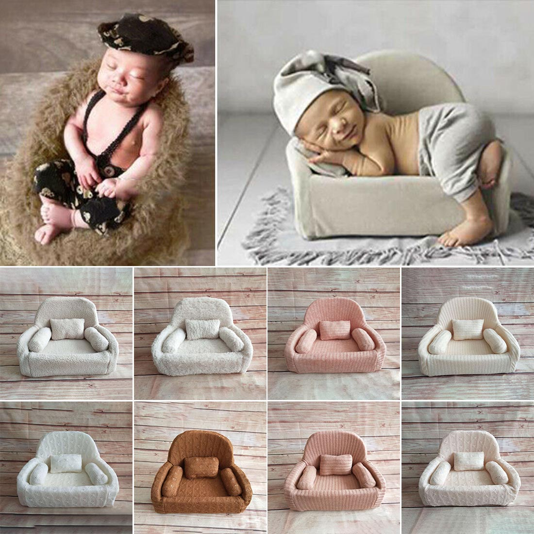 Mini Posing Sofa Pillow Set Chair Decoration Baby Photography Accessories Infant Studio Shooting Props Newborn Photography Props