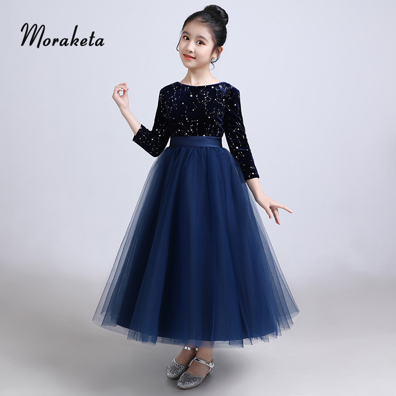 Parana River Denuncia microscopico  Ball Gown Navy Blue Flower Girl Dresses For Wedding Scoop Neck With 3/4  Sleeves Princess Tulle Shiny Star Pageant Dress For Girl|Flower Girl Dresses|  - AliExpress