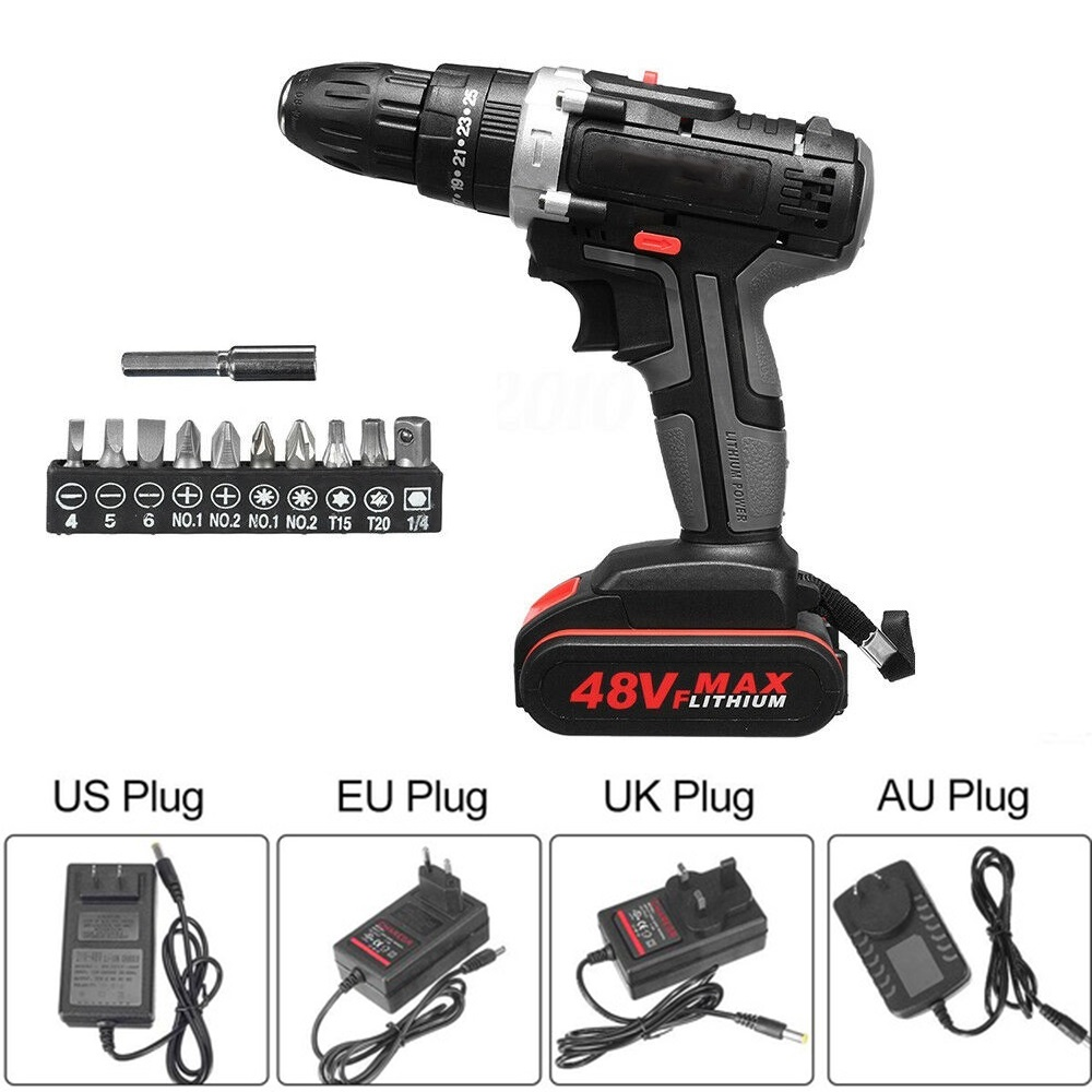 48V 1500W Electric Drill Hammer Cordless 28N.m High Power Screwdriver + Battery US/UK/AU/EU Durable Electric Power Tool Set