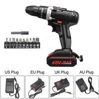 48v 1500w martelo da broca elétrica sem fio 28n. m chave de fenda de alta potência + bateria us/uk/au/eu  durável  conjunto de ferramentas de energia elétrica
