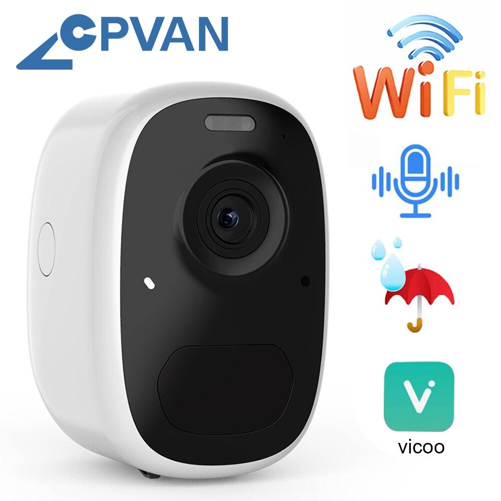Cpvan câmera ip ao ar livre ip65 à prova dwire água fio-livre bateria câmera 6700mah bateria alimentado 1080p ia reconhecimento câmera de segurança