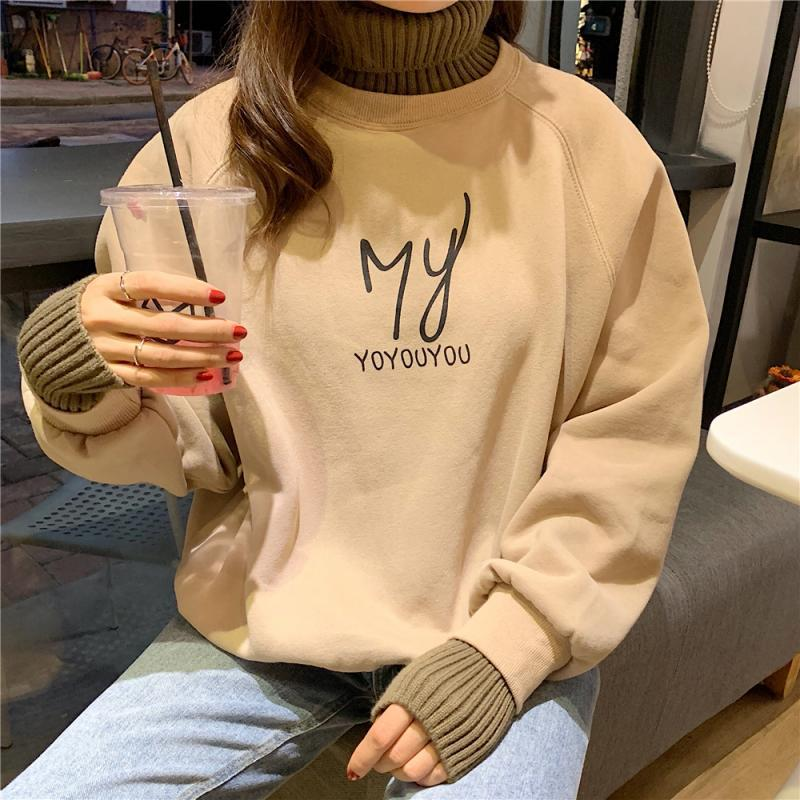 Autumn And Winter Pullover Women's Loose Large Size Turtleneck Letter Printing Plus Velvet Pullover Female Students Casual