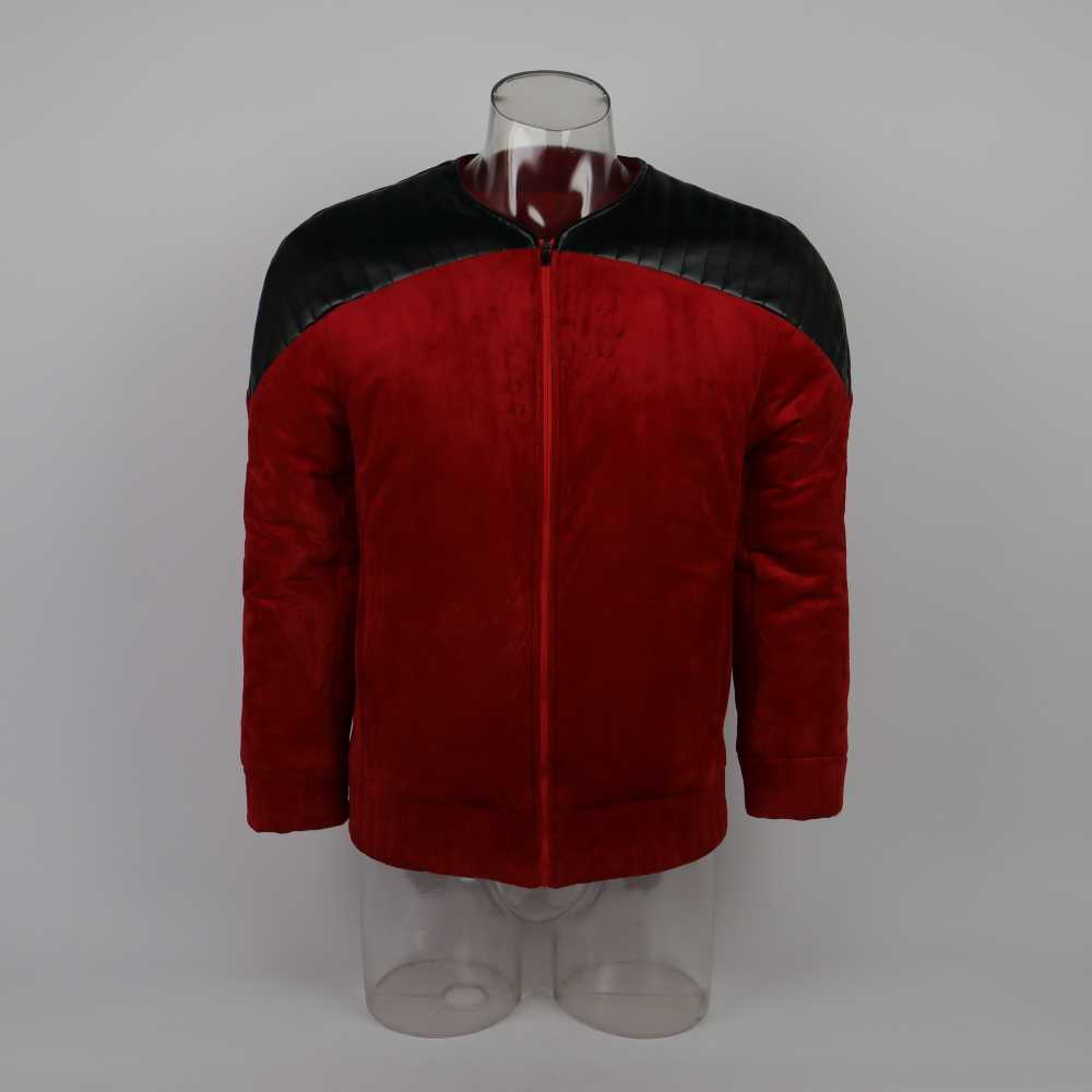 Estrela a próxima geração trek capitão picard dever uniforme jaqueta tng traje vermelho homem casaco de inverno quente cosplay traje prop