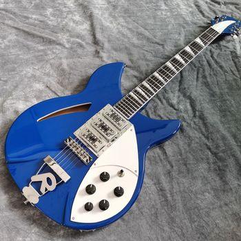 New Arrival electric guitar .Blue color Ricken 325 hollow body jazz electric guitar Rick custom guitar 6 stings gitaar new style china custom f hollow body jazz electric guitar sunburst color jazz guitarra vibrato system