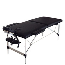 Black Color 2 Sections Folding Portable SPA Bodybuilding Massage Table Beauty Bed with Free Case