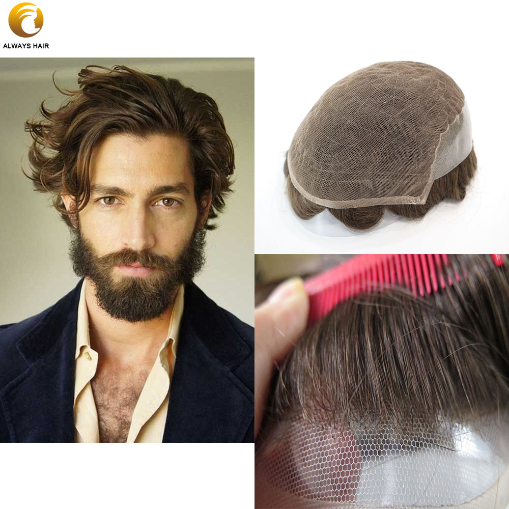 Comfortable Breathable Nature Hairline Hair System For Men With French Lace & PU Base Free Style Hair Density Medium Light