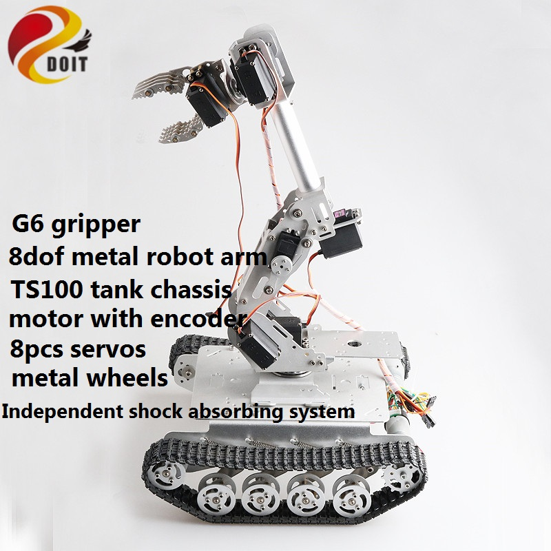SZDOIT 8DOF Vehicle Robotic Full Metal 8-Axis Robot Arm with Gripper + <font><b>TS100</b></font> Shock Absorbing <font><b>Tank</b></font> Chassis Kit Servos for Arduino image