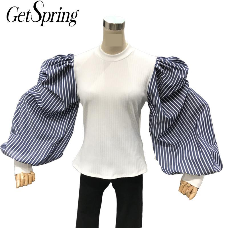 GetSpring Women Blouse Striped Stitching Fake Two Pullover Women Shirt Puff Sleeve Vintage Blouse Retro Ladies Tops Auutmn