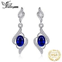 Jewelrypalace 作成ブルーサファイア 925 スターリングシルバーイヤリング女性の宝石用原石韓国イヤリングファッションジュエリー